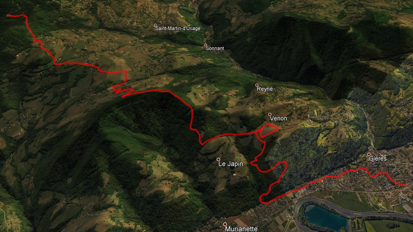 aperçu trajet rando-trail Chêne Venon